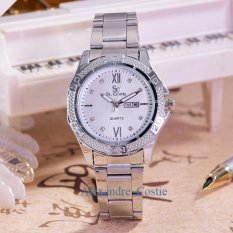 Saint Costie - Jam Tangan Wanita-Body Silver - White Dial - SC-RT-5759B-T/H-SW-Stainless Stell Band