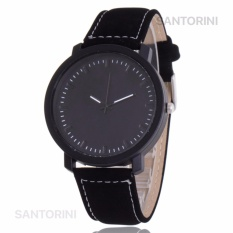 Santorini Jam Tangan Pria Wanita Minimalist Fashion Analog Quartz Men Lady Kulit PU Watch - Black