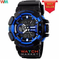 SKMEI Casio Dual Time Men Sport LED Watch Anti Air Water Resistant WR 50m AD1117 Jam Tangan Pria Tali Strap Karet Digital Alarm Wristwatch Wrist Watch Fashion Accessories Stylish Trendy Model Baru Sporty Design - Hitam Biru