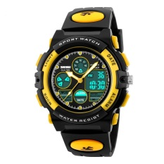 "SKMEI Tempat Tidur Jam Tangan Fashion Sports Tahan Air Jam Tangan Analog Digital LED Ganda Waktu Jam Kuarsa Bandung Photo:"" Asli 1163 (hitam Kuning) -Internasional"