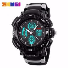 SKMEI Men Sport LED Dual Time Watch Anti Air Water Resistant WR 50m AD1211 Jam Tangan Pria Tali Strap Karet Day Date Digital Alarm Wristwatch Wrist Watch Fashion Accessories Stylish Trendy Sport Design - Hitam Abu