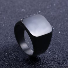 Solid Stainless Steel Ring Band Titanium Men Wedding Jewellery Ring - US size 6 -Black - intl