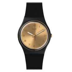 Swatch - Jam Tangan Wanita - Hitam-Gold - Rubber Hitam - GB288 Golden Friend Too