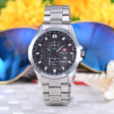 Swiss Army Jam Tangan Pria - Body Silver - Black Dial – Stainless steel band - SA-RT-5389G-SB