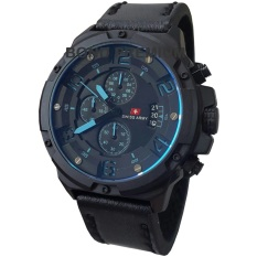 Swiss Army Jam Tangan Pria   SA1353 - Chrono Black Leather Strap ( Jarum Biru )