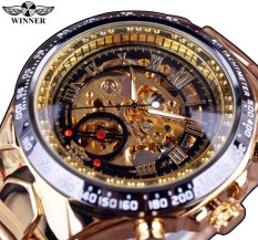 Winner Newest Number Sport Design Bezel Golden Top Brand Men Automatic Skeleton Watch Luxury Montre Homme Clock-Gold Watchcase Gold Dial - intl