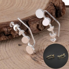 Women Ear Sweep Wrap Silver/Gold Ear Climber Moon Phases Ear Cuffs Earrings Gold - intl