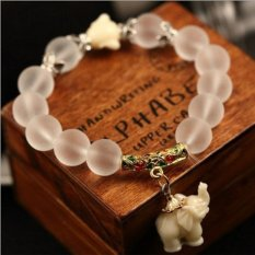 Women Fashion Beaded Bracelet Matte Animal Pendant Elastic Yoga Bracelets - intl