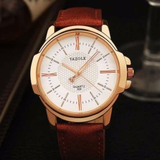 Yazole Jam Tangan Analog Pria Rockland YZ358 Strap Kulit Leather Elegan Formal Design Luxury Men Watch s8787 - Coklat Putih