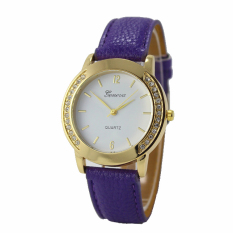 Yika Geneva Fashion Wanita Berlian Klasik Jam Tangan Analog Leather QUARTZ Wrist Watch (Ungu)