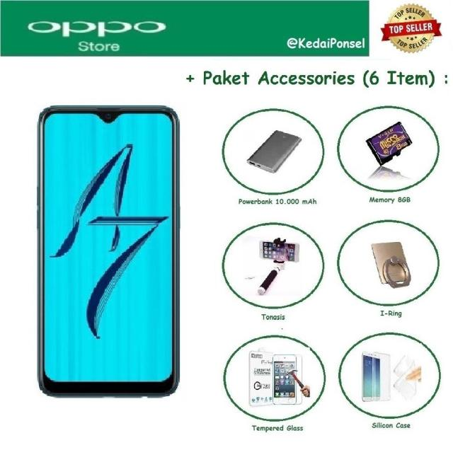 OPPO A7 [4/64GB] + 6 Item Accessories