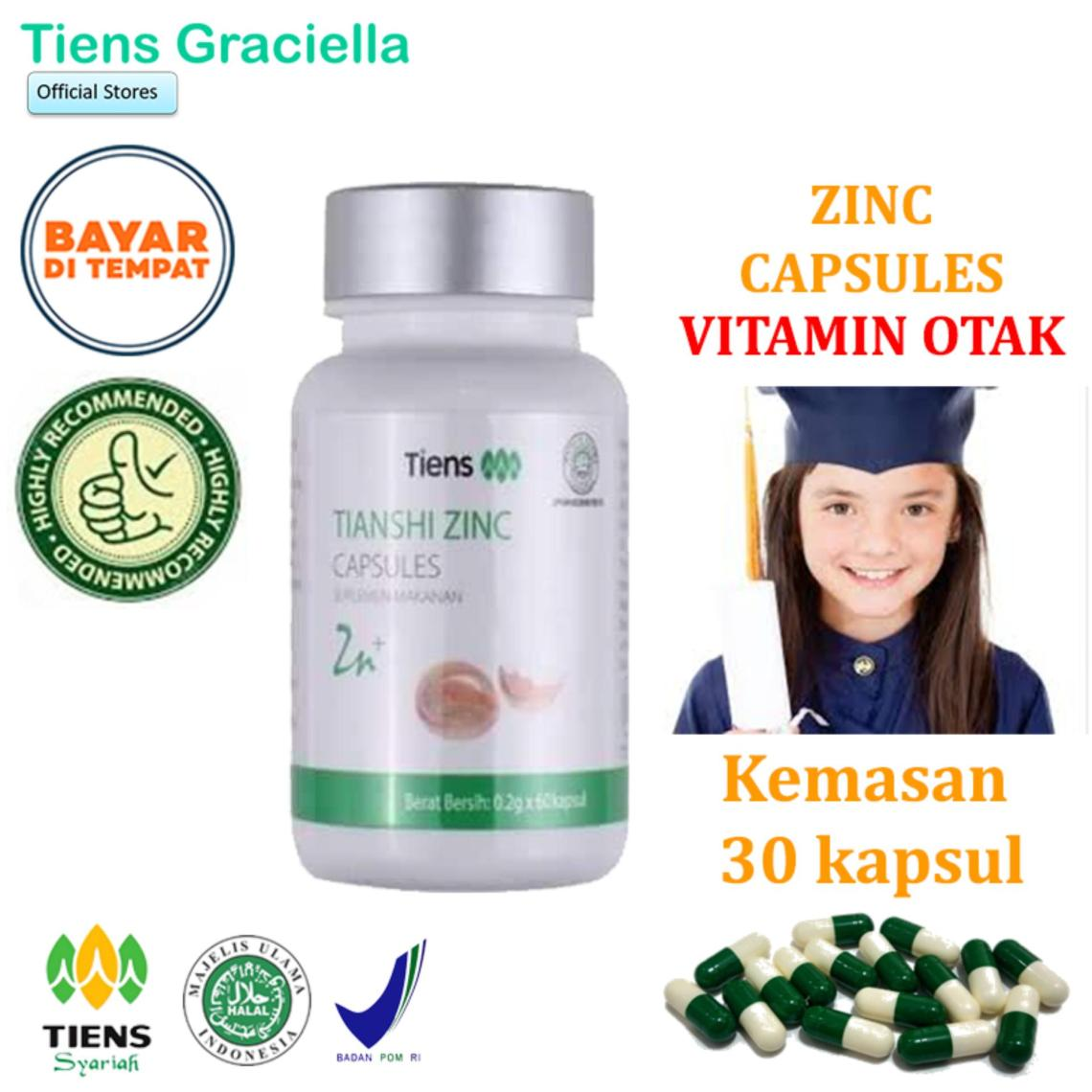 Tiens Zinc Vitamin Otak Peningkat Daya Ingat Penambah Kecerdasan Penambah Stamina Anak Paket Promo Banting Harga 30 Kapsul + GRATIS Kartu Member Tiens Graciella