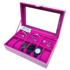Jogja Craft Baby Pink Watch Box - Kotak Jam Tangan Isi 6 Mix Ring Holder - Pink