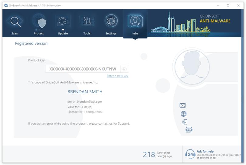 Info tab in GridinSoft Anti-Malware