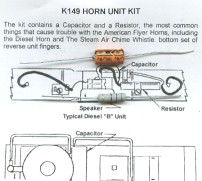 HORN SPEAKER KIT for American Flyer STEAM DIESEL ENGINES S