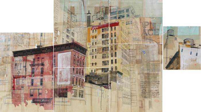 Urban Identities 23, 2013. mixed media and rice paper on canvas, 6 panels, overall size 250 x 150 cm