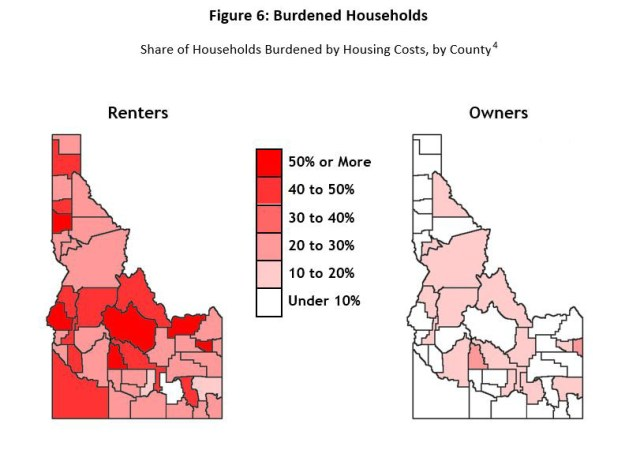 map of Idaho with housing cost burdens