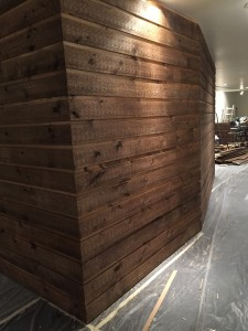 more pine installed - all corners continue the lines