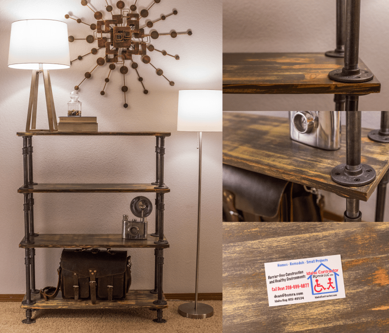 pipe shelves and pipe furniture by idaho contractor
