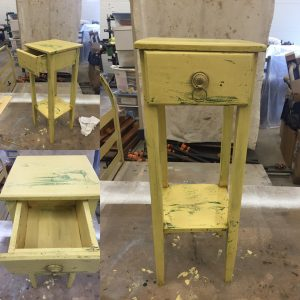 small end table finished yellow distressed