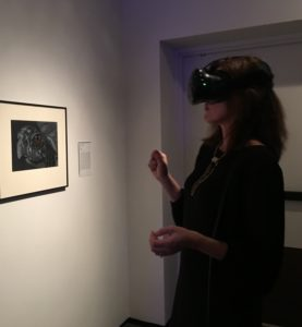 Gala attendee viewing Finnegan's art.