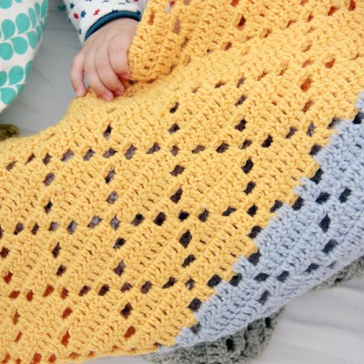 Filet crochet baby blanket