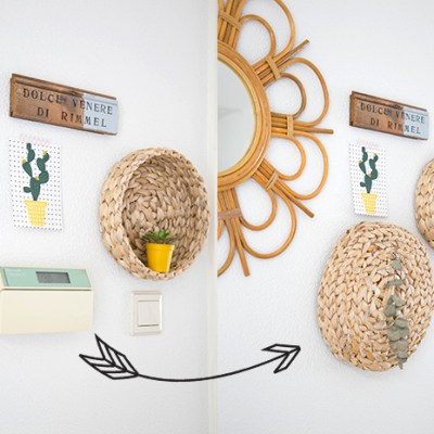 DIY :: rattan baskets as wall decoration