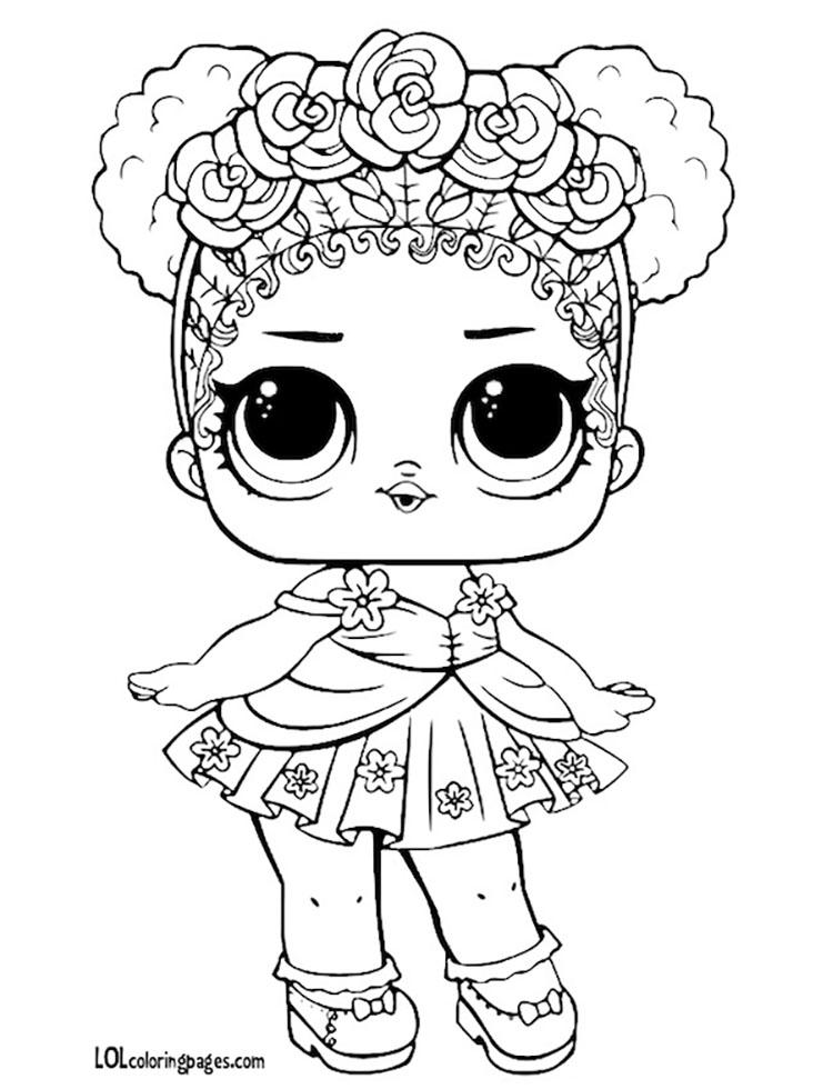 Раскраска кукла ЛОЛ Королева Цветов
