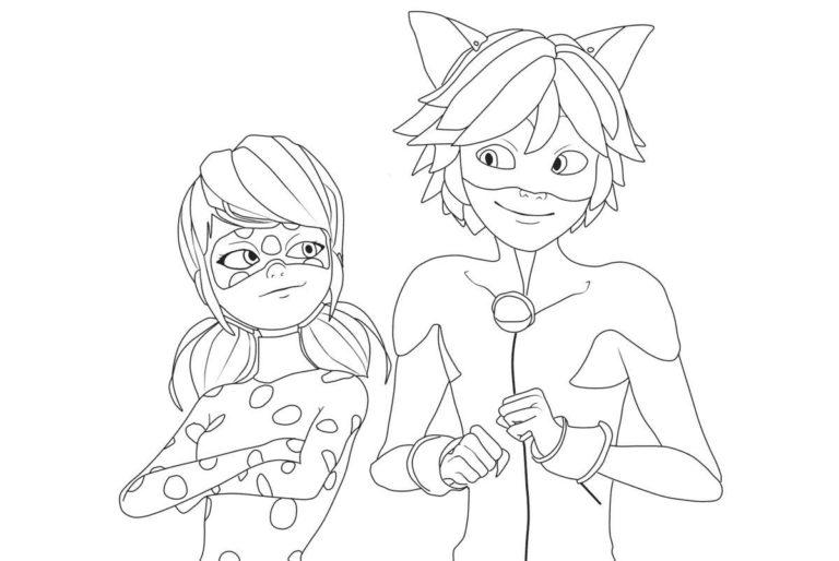 Раскраски Леди Баг Ladybug Cat Noir 2