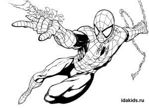 Раскраска Человек паук для детей