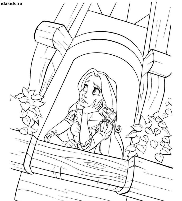 Раскраска Рапунцель грустит в башне