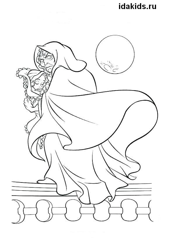 Раскраска Рапунцель маленькая похищена ведьмой