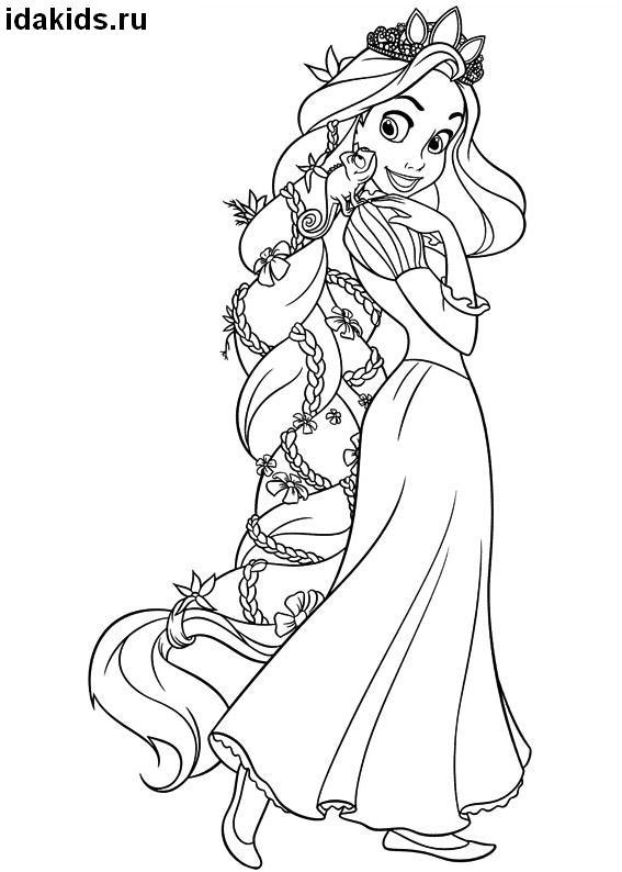 Раскраска Рапунцель с хамелеоном на плече