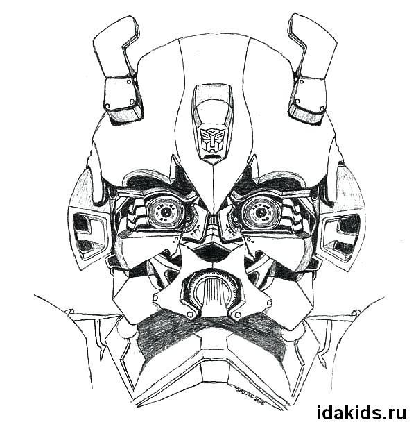 Раскраска Бамблби маска