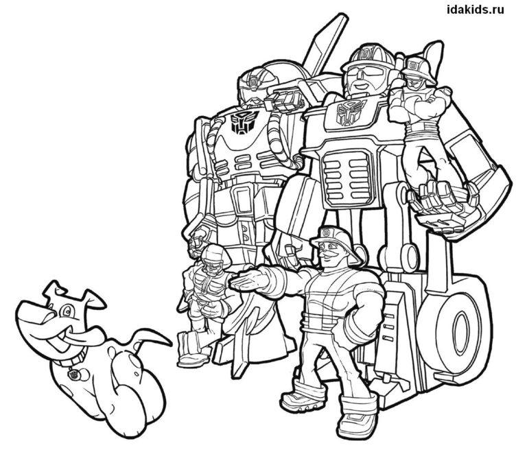 Раскраска Трансформеры Боты-спасатели