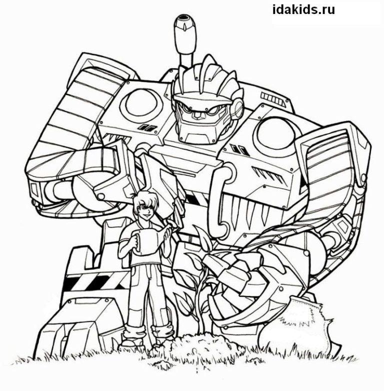 Раскраска Боты-спасатели новые Трансформеры