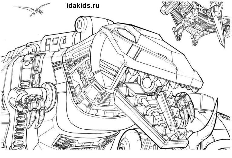 Раскраска Трансформеры Диноботы
