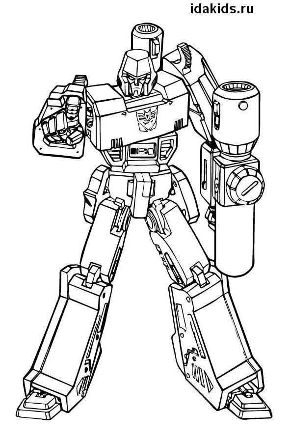 Раскраска Трансформеры глава Десептиконов Мегатрон