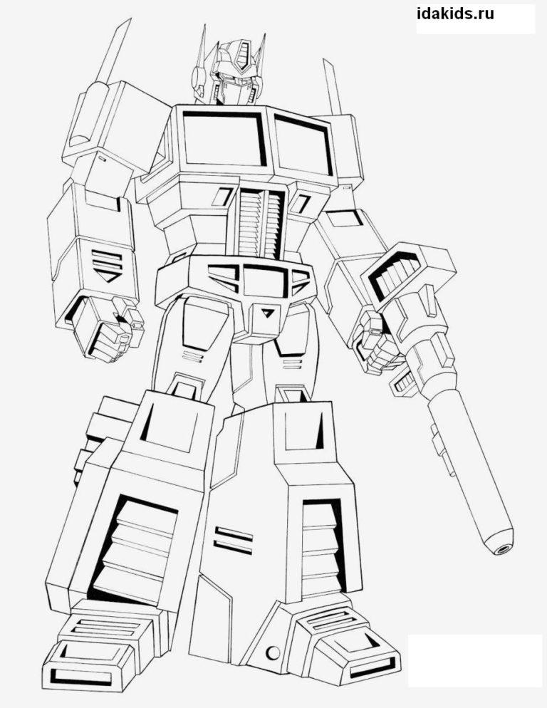 Раскраска Трансформеры Оптимус Прайм главный герой
