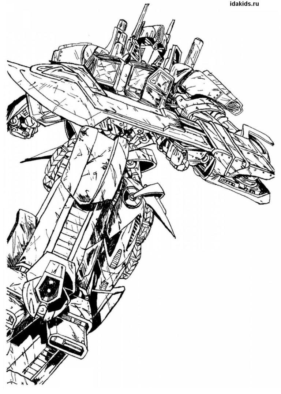 Раскраска Трансформеры Последний рыцарь Оптимус Прайм