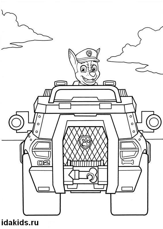 Раскраска Щенячий Патруль Гонщик едет в автомобиле