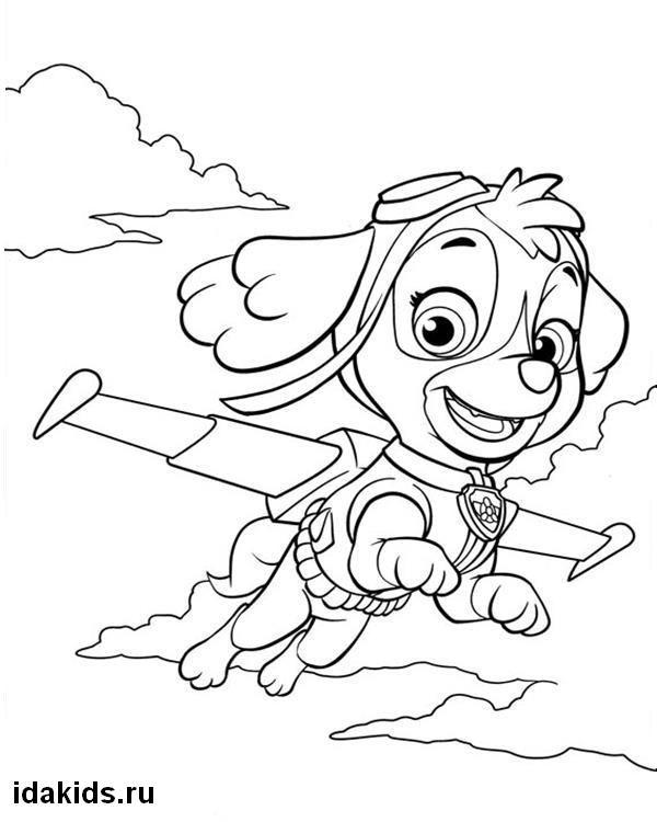 Раскраска Щенячий Патруль Скай летает