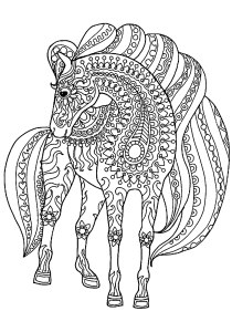 Horses - Free printable Coloring pages for kids0