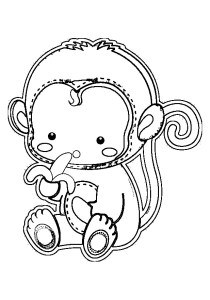 Monkeys - Free printable Coloring pages for kids19