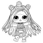Раскраска ЛОЛ 5 серия с волосами Скибер Герл