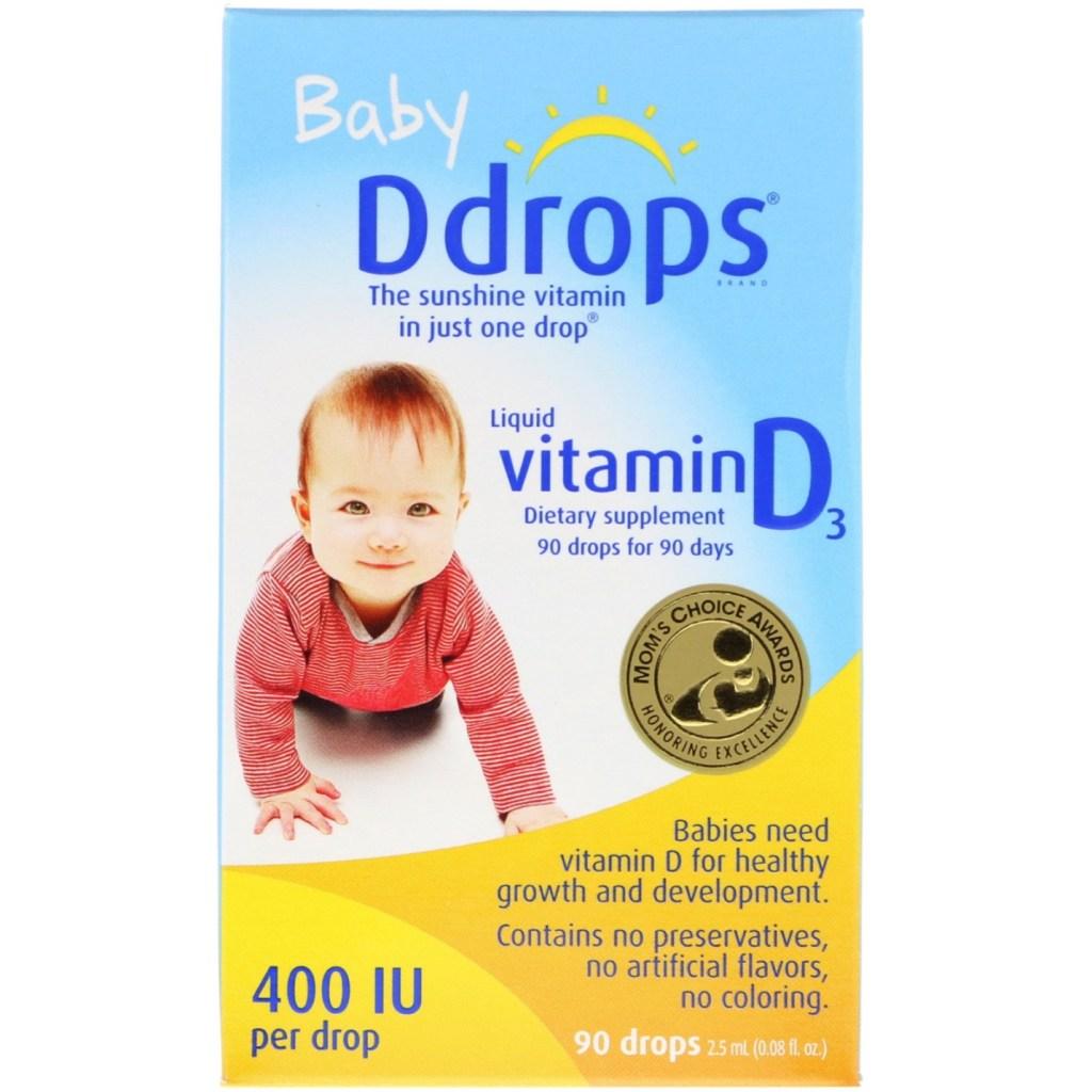 Ddrops, Жидкий витамин D3 для детей, 400 МЕ