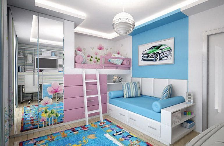 Интерьер детской комнаты для двоих разнополых