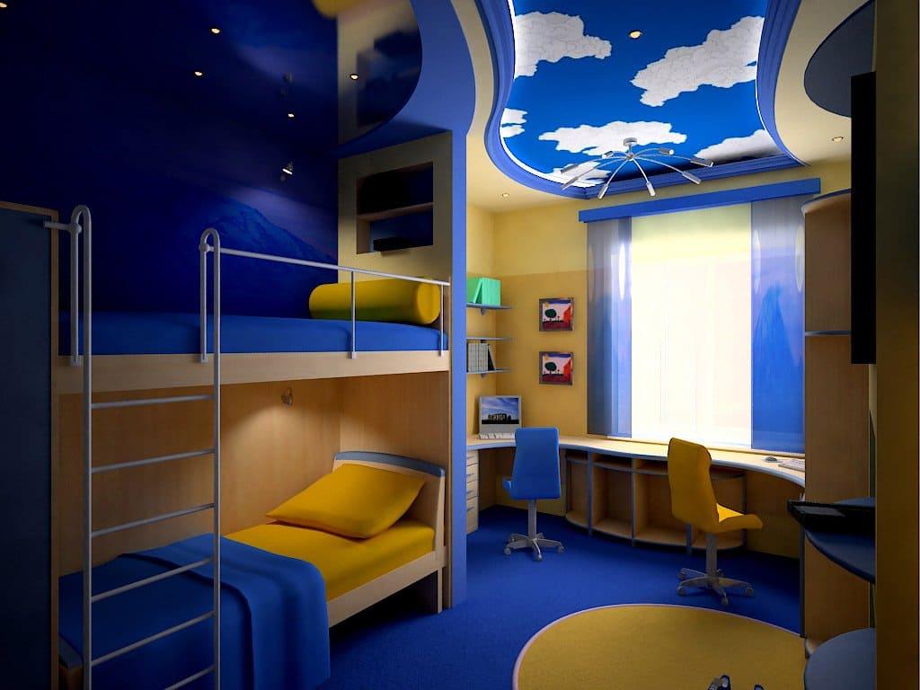Дизайн детской комнаты для двоих мальчиков фото