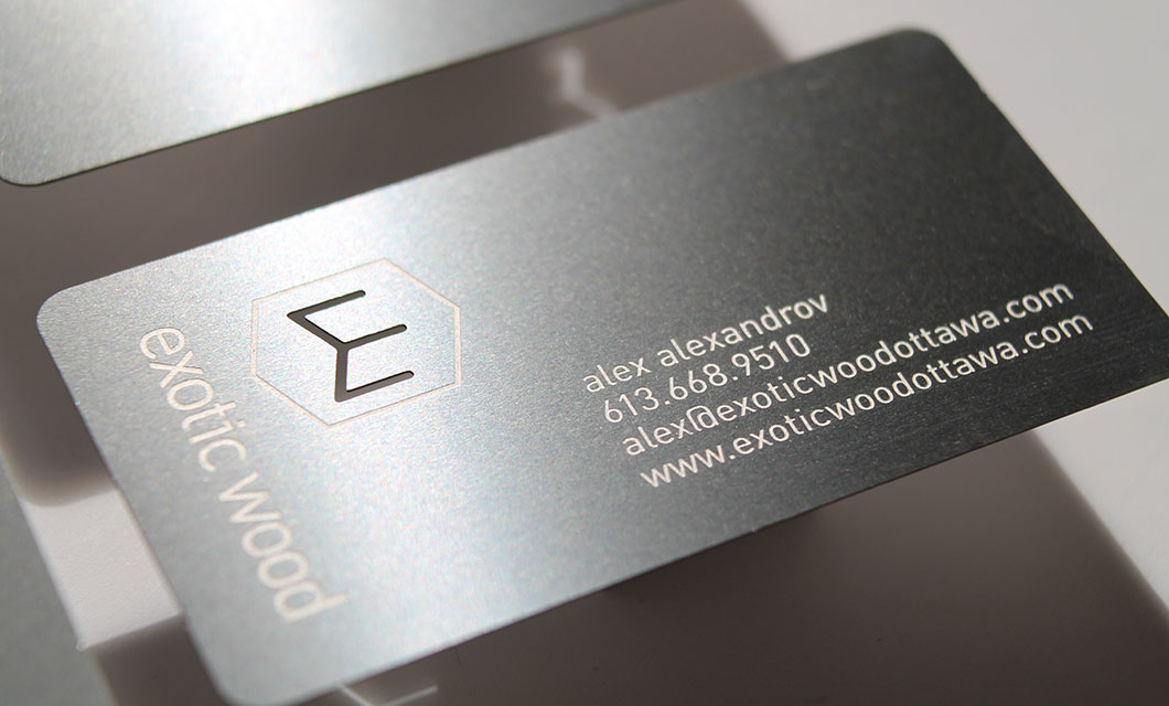 Metal Business Cards for Ottawas Exotic Wood  idApostle