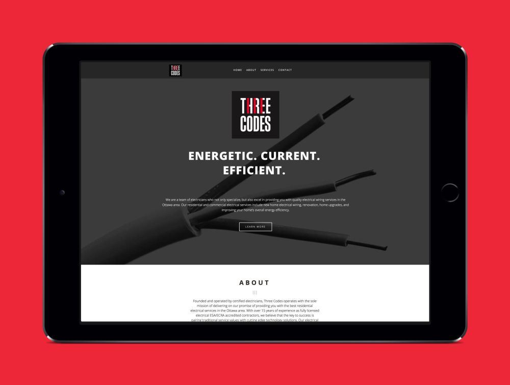 medium resolution of website for three codes an electrical company by ottawa graphic designer idapostle
